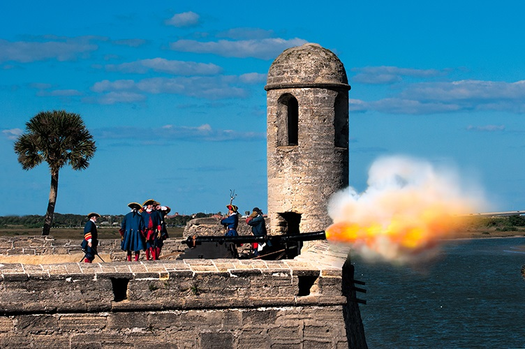 Cannons firing at Castillo de San Marcos in St. Augustine