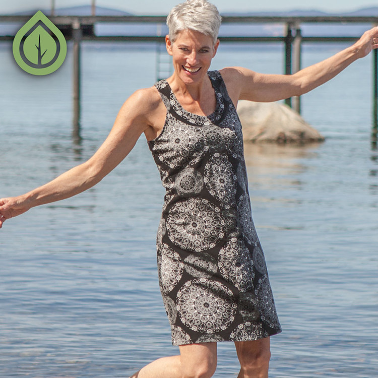 Aventura's green symbol makes it easy to spot earth-friendly clothes on their website.