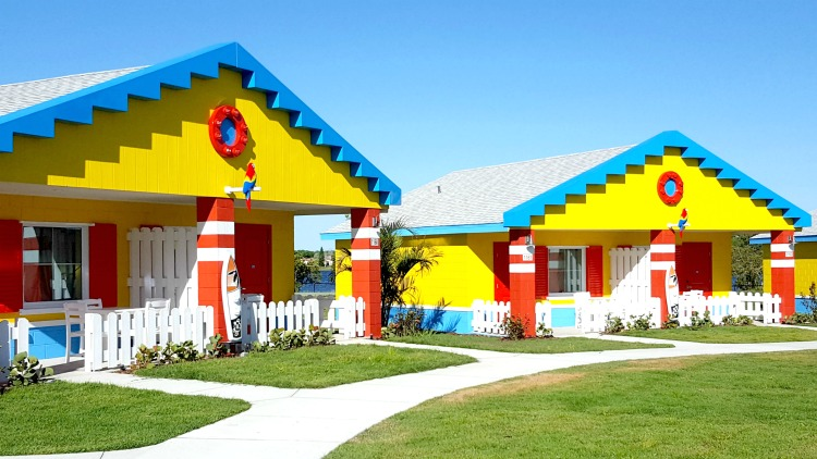 The bungalows at the new LEGOLAND Beach Retreat are bright and colorful