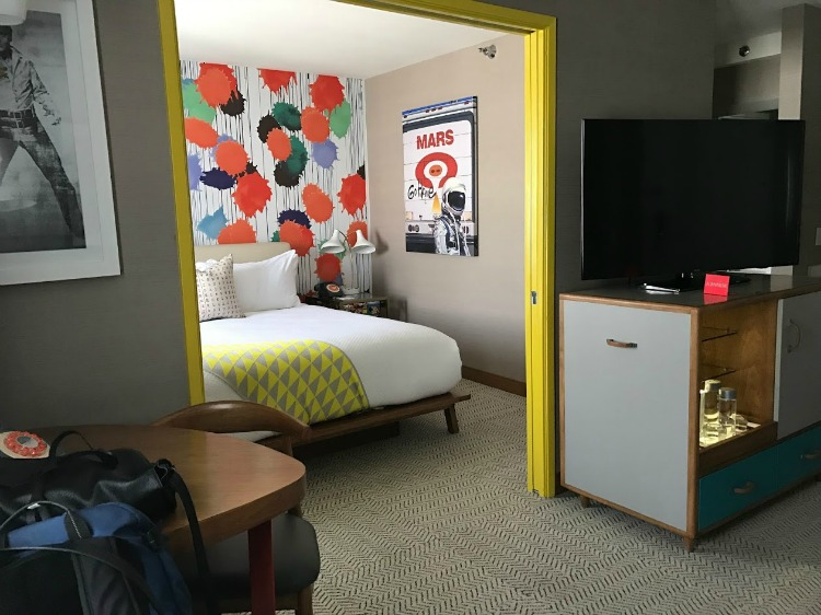 Guest rooms at The Kinney Hotel in Los Angeles are a fun choice for a luxury girlfriend getaway.