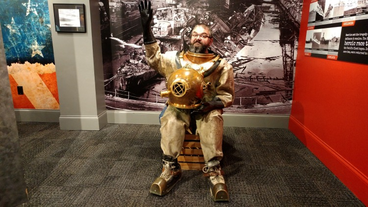 Posing with a diving suit in the Pearl Harbor exhibit inside Ripley's Aquarium in Gatlinburg, TN