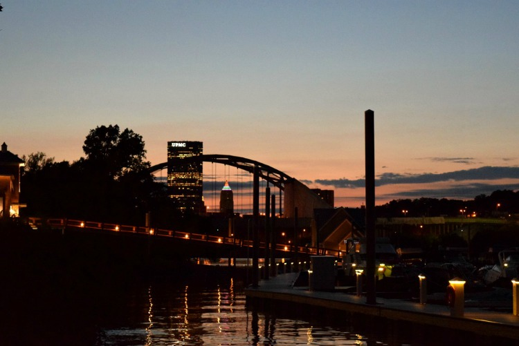 A fun place to watch sunsets in Pittsburgh is from the South Side Works