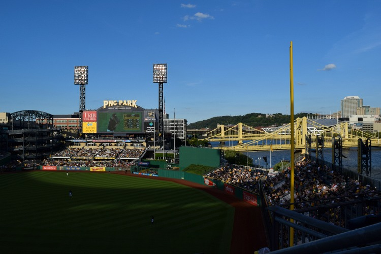 PNC Park in Pittsburgh is a fun way to watch the sunsets.