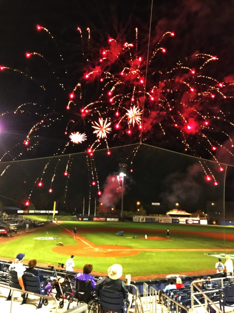Fantastic fireworks top of a baseball game at Charlotte Sports Park in Port Charlotte, Florida.