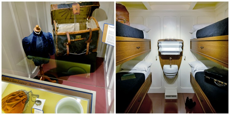 Third class cabin replica and belongings of passengers at the Titanic Museum Attraction in Pigeon Forge