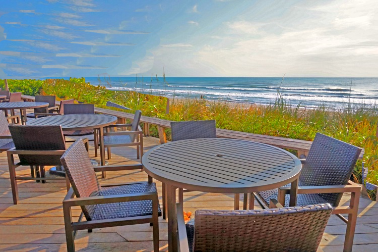 Dining area with a view at Crowne Plaza Melbourne-Oceanfront, a Florida beach hotel.