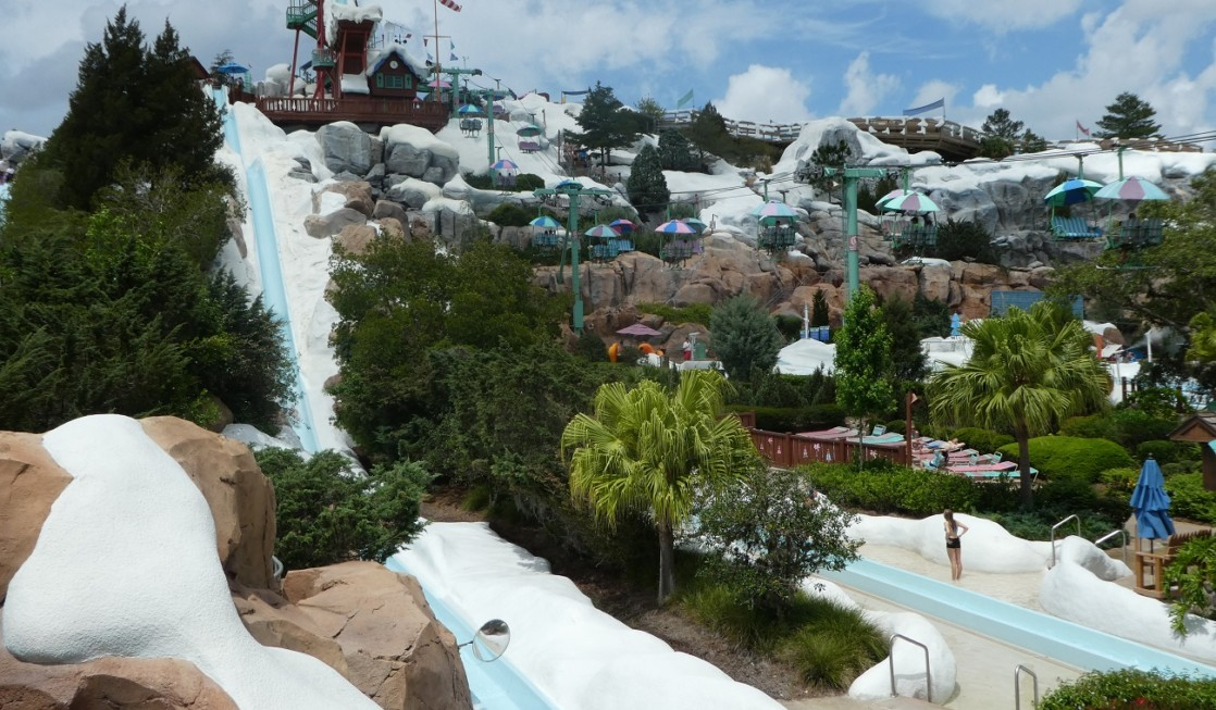 Of the two disney world water parks, Blizzard Beach is uniquely themed to a winter wonderland