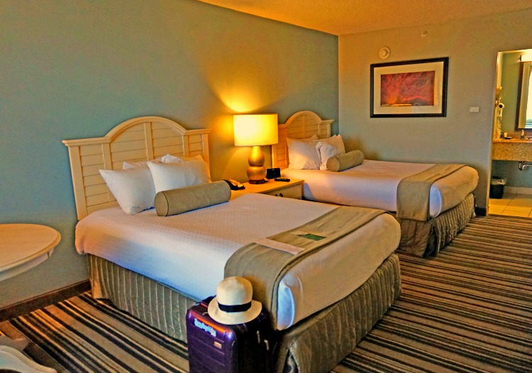 A double room at Crowne Plaza Melbourne-Oceanfront, a Florida beach hotel.