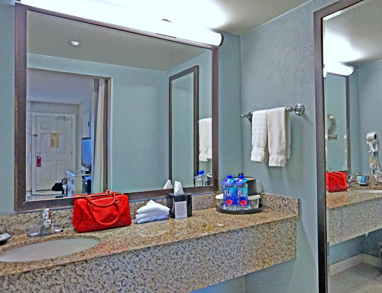Specious and clean bathroom at Crowne Plaza Melbourne-Oceanfront, a Florida beach hotel.