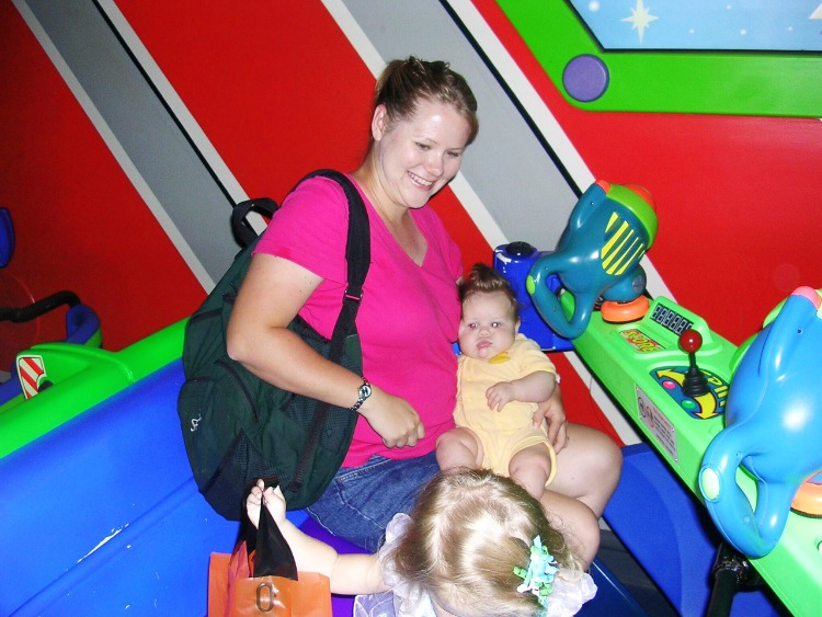 Take a break on some of the slow moving attractions at Disney World while pregnant like Buzz Lightyear's Space Ranger Spin.
