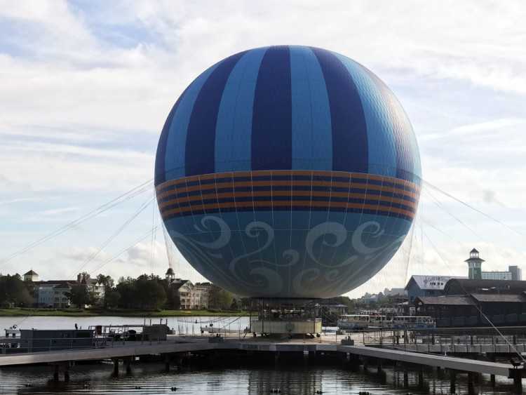 One of the best things to do in Disney Springs is take a ride on Characters in Flight.