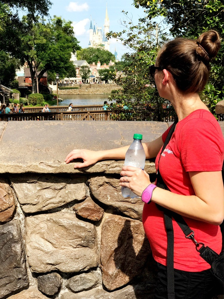 Don't forget to constantly drink water when you visit Disney World while pregnant.