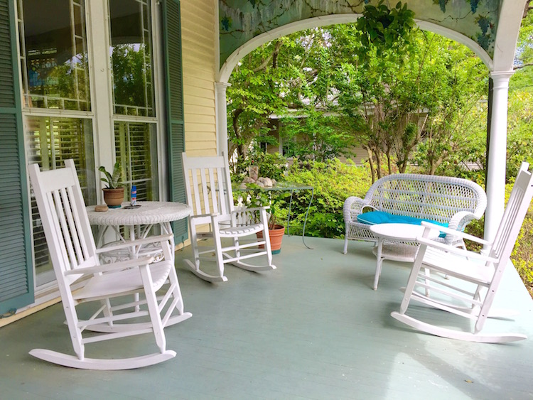Welcoming porch at Camellia Cottage Bed and Breakfast in Wilmington, North Carolina