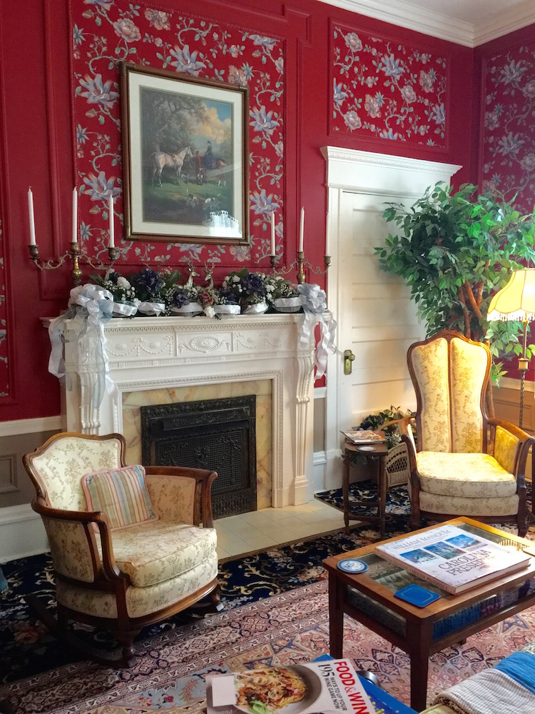 Elegant living room at Rose Hill Bed and Breakfast in Wilmington, North Carolina