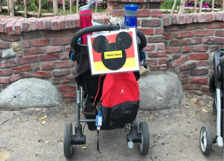 DIY Ways to make your strollers at Disney World easy to find in the stroller parking lots.