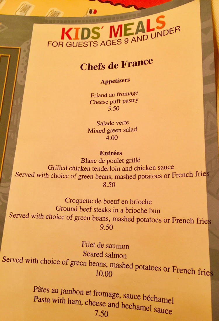 Kids Menu at Chefs de France, Epcot - TravelingMom