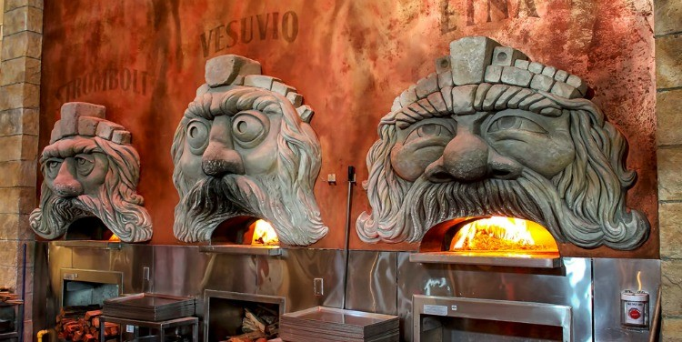 The three wood-burning ovens of Via Napoli representing the three active volcanoes in Italy--Mount Etna, Mount Vesuvius and Stromboli - TravelingMom