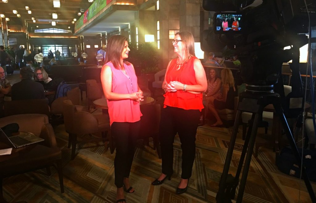 """The List"" host Kristina Guerrero and TravelingMom Editor Cindy Richards discuss family travel tips while taping in the lobby of the Arizona Biltmore Resort in Phoenix."