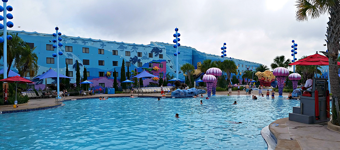 "One of the best Disney World resort pools is at the Art of Animation resort where you can Dive ""under the sea"" and listen to underwater musi"