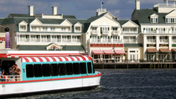a friendship boat takes Walt Disney World guests to the Boardwalk area, a fun place for families and couples