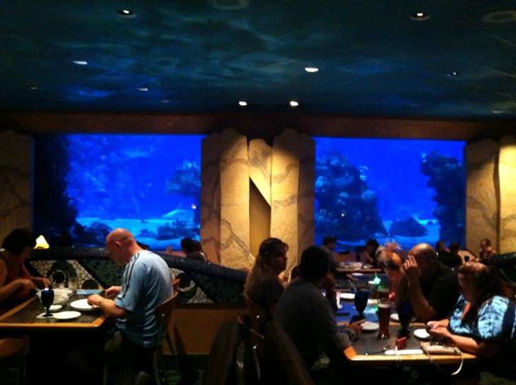 Disney Dining: Kids love checking out the giant aquarium at Coral Reef Restaurant