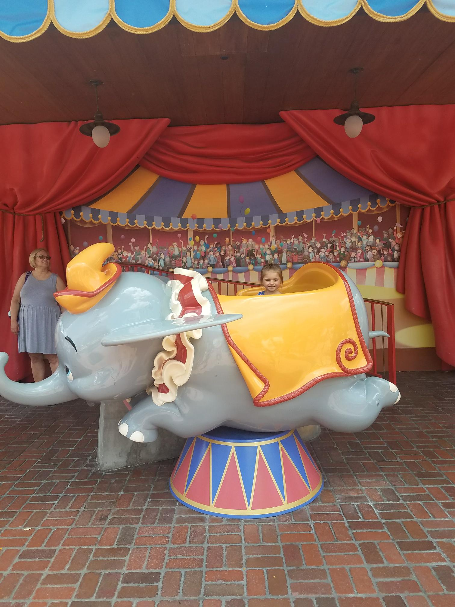 Dumbo the Flying Elephant in Storybook Circus includes a fun area for kids, and a chance to take a photo with Dumbo