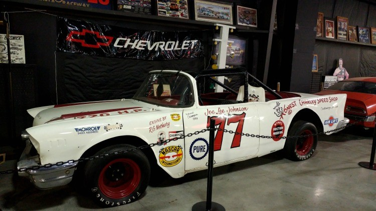 Driver Joe Lee Johnson's 1959 Nascar Convertible Series Champion race car on display at Floyd Garrett Muscle Car Museum in Sevierville, TN near Pigeon Forge; a visit makes a great gift for Father's Day in the Smokies.