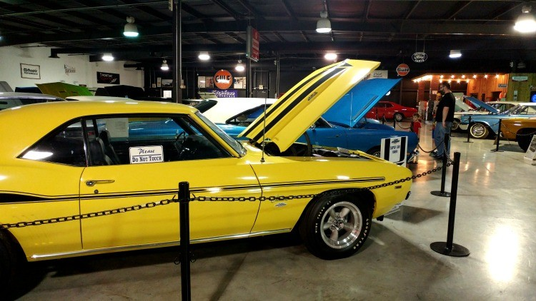 Muscle cars on display at Floyd Garrett Muscle Car Museum in Sevierville, TN near Pigeon Forge; a visit makes a great gift for Father's Day in the Smokies.