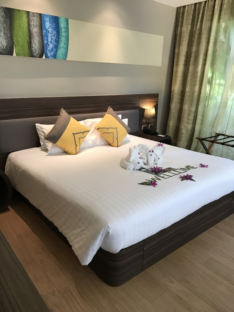 The master bedroom in a suite at Novotel Phuket Karon beach.