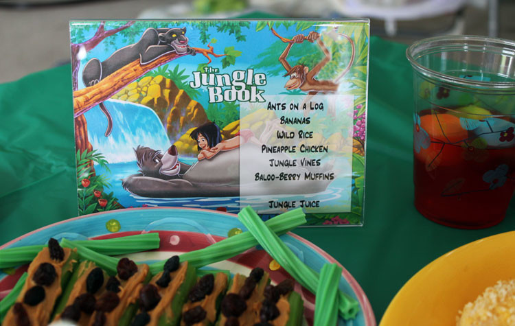 A menu for a Jungle Book themed dinner or movie night