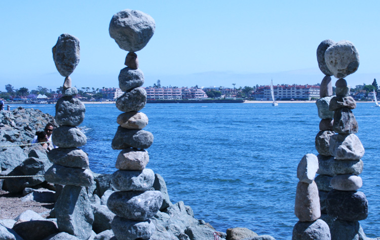 Stone cairns along the waterfront in Seaport Village in San Diego.