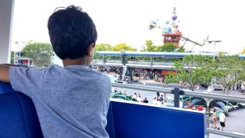 A preschooler looks out over Disney World