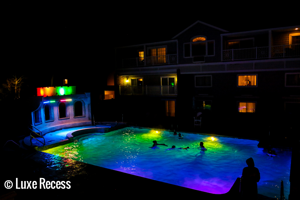 Kids love the disco lights at the outdoor pool at the Cape Codder Resort.