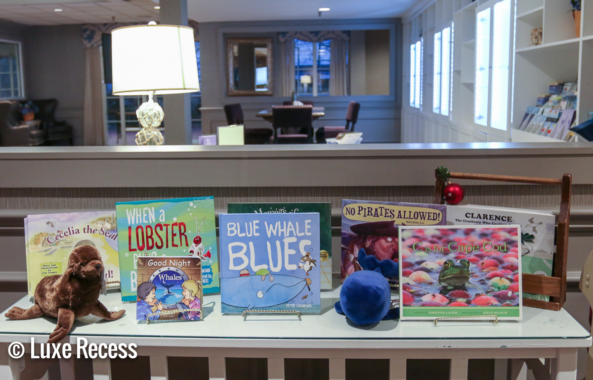 Enjoy story time with books at the Cape Codder, particularly nice when the little ones are tired from the indoor waterpark on Cape Cod.