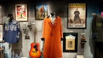 Clothing and instruments on display at the Johnny Cash Museum in downtown Nashville, TN.