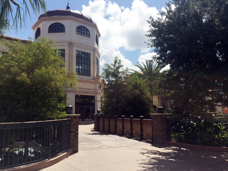A bridge and beautiful architecture in the Disney Springs town square area