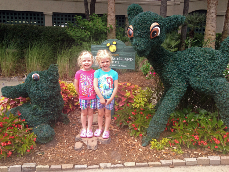 Children visit Disney's Hilton Head Island Resort where topiaries, hidden mickeys, etc bring Disney magic to South Carolina's low country