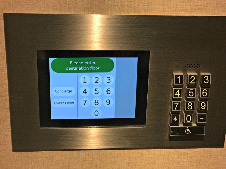 Digital control pad on elevators at Anaheim Marriott