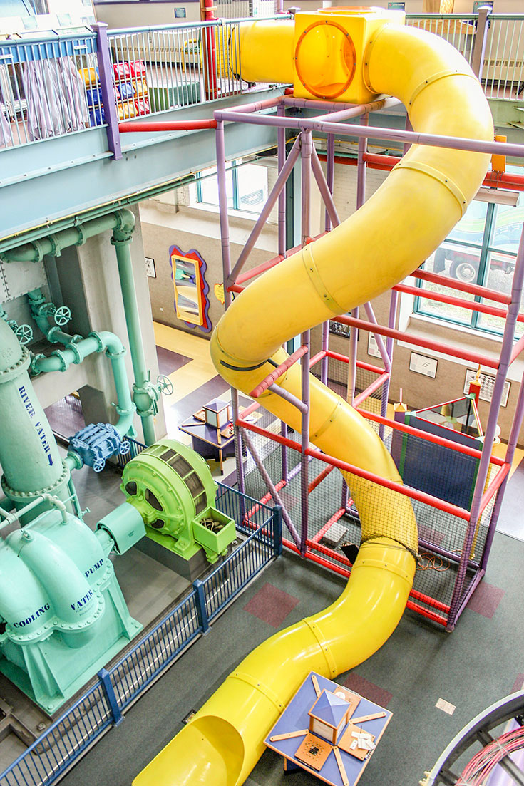 Kids can take an active role in science by sliding through Science Central, great affordable family fun in Fort Wayne, IN