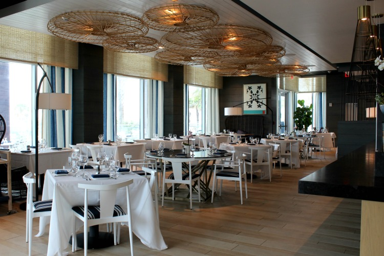 The Ocean Hai restaurant has large windows so that you can enjoy a view of the ocean while you dine