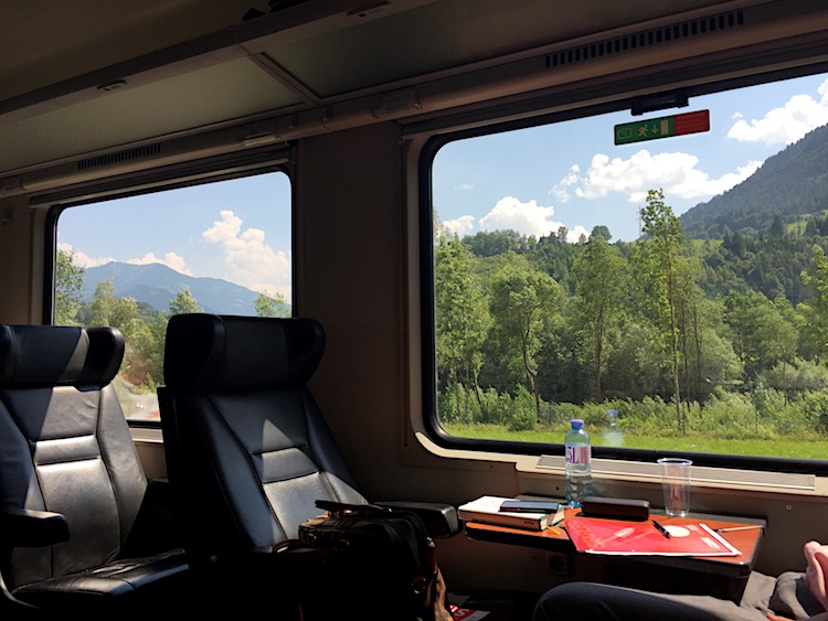 Train travel in Europe includes comfy seats and big windows with views