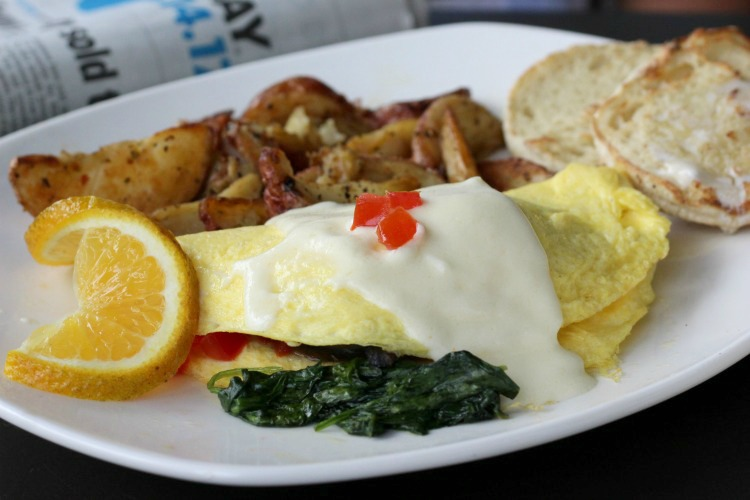 The Coast Watch Omelet comes stuffed with seafood