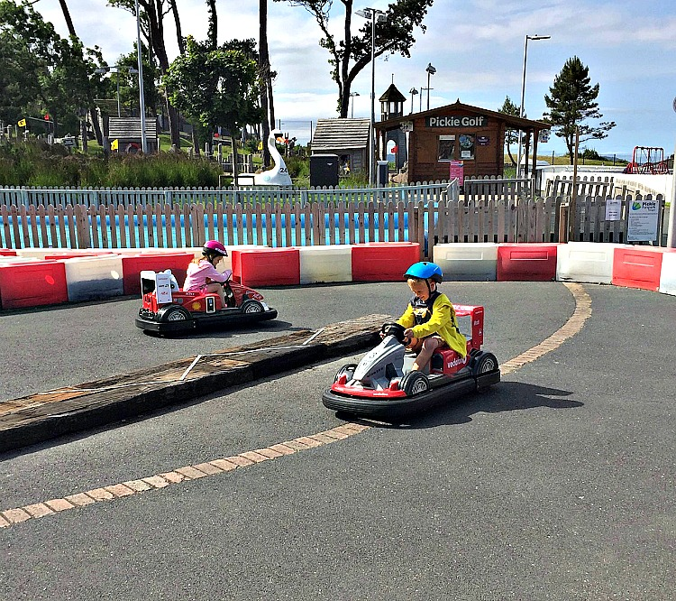 The go carts at Pickie Park are fun and safe. Put them on your list of things for families in Northern Ireland.