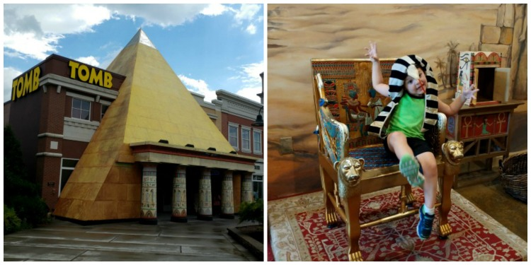 The Tomb Egyptian Adventure is an escape game in Pigeon Forge, TN looks like a big pyramid.