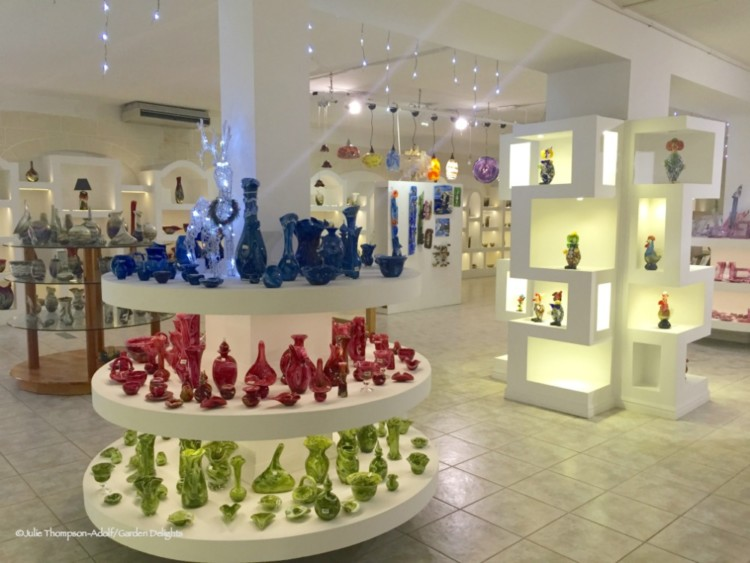 Souvenir shopping for hand-blown glass is a favorite things to do in Malta.