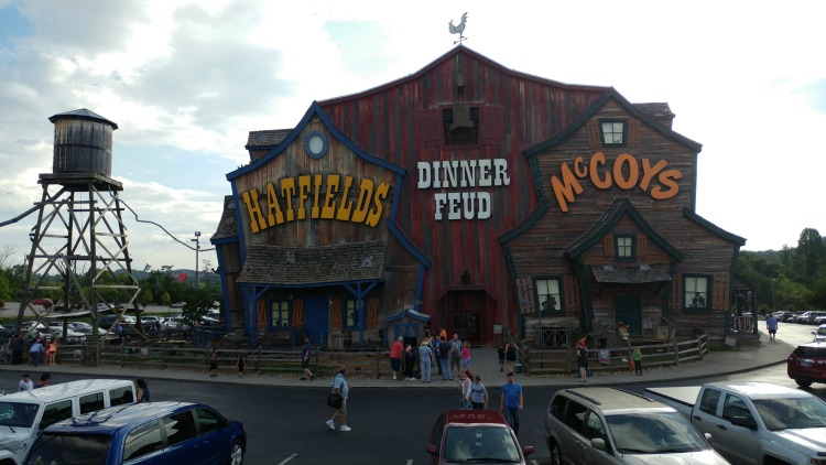 Outside shot of The Hatfield and McCoys Dinner Feud building in Pigeon Forge, TN