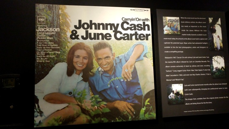 Johnny Cash and June Carter album cover at the Johnny Cash Museum, a terrific destination for music lovers in Nashville, TN.