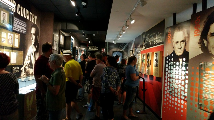 The weekend crowd at the Johnny Cash Museum, a great destination for music lovers in Nashville, TN.