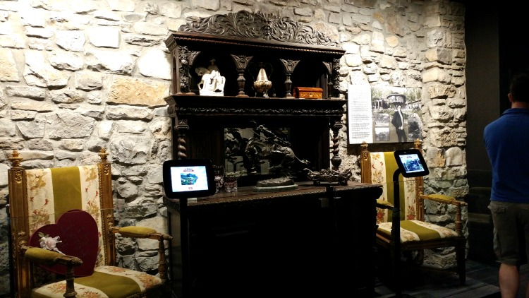 Home furnishings and stone work recovered from June Carter and Johnny Cash's lakehouse at the Johnny Cash Museum in Nashville, TN.