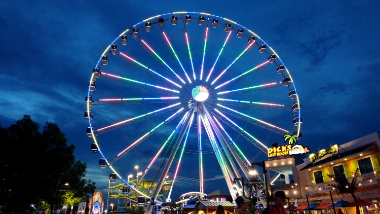 Twilight shot of The Great Smoky Mountain Wheel located in Pigeon Forge, TN at The Island shopping and entertainment plaza.